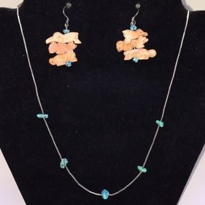 Vintage sterling turquoise fetish earrings/necklac